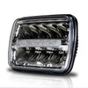 7x6 (5x7) H6054 200mm LED Reflector w/DRL Headlights Chrome Set