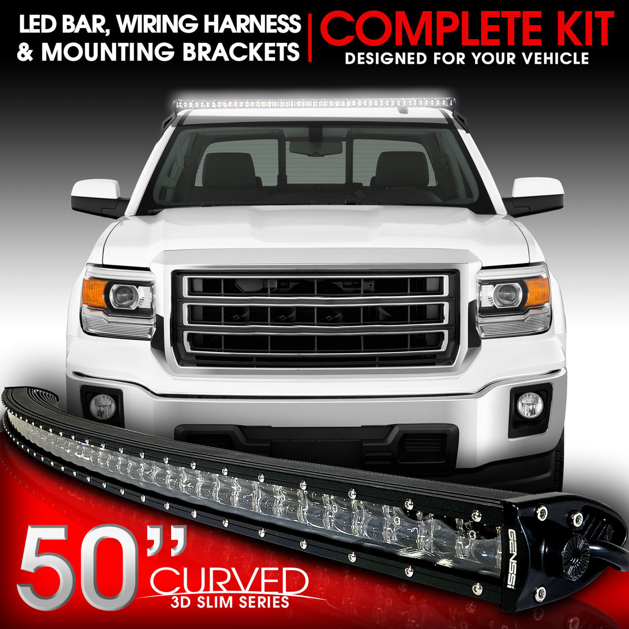 LED Light Bar Curved 288W 50 Inches Bracket Wiring Harness Kit for ...