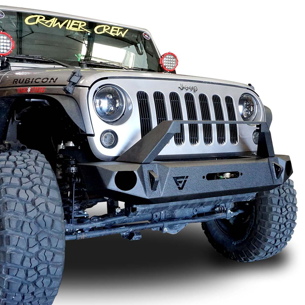 Front high rise bull bar bumper wlight bar holder woem fog holes for wrangler 2007 2018 front high rise bull bar bumper wlight bar holder woem fog holes aloadofball Image collections