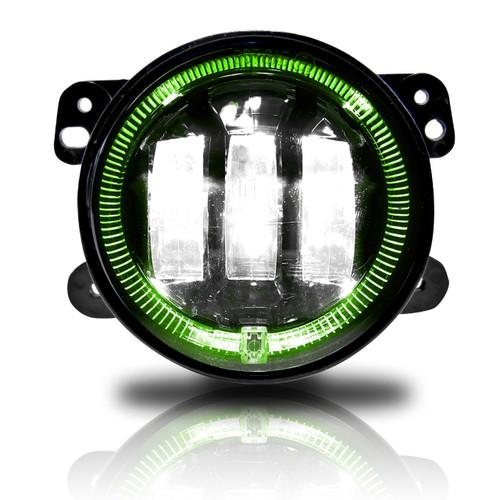 4 Inch LED Green Halo Fog Lamp Lights For Jeep Wrangler JK