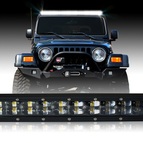 LED Light Bar 288W 50 Inches Bracket Wiring Harness Kit for Wrangler TJ 1997-2006