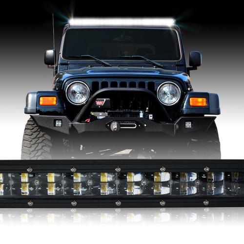 LED Light Bar 288W 50 Inches Bracket Wiring Harness Kit for Wrangler TJ 1997-2006
