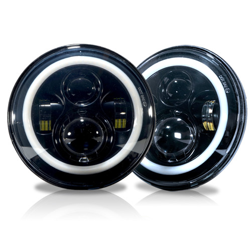 7 Inch HALO RGB Color Projector LED Headlights Set