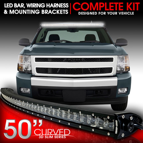 led light bar curved 288w 50 inches bracket wiring harness kit for rh genssi com