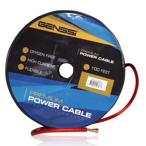 100ft 8AWG Power Cable Wire 8 Gauge Clear Red - GENSSI