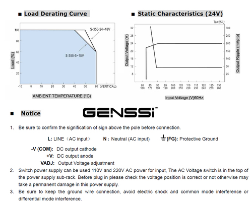 24V 350W Power Supply Regulated Switching