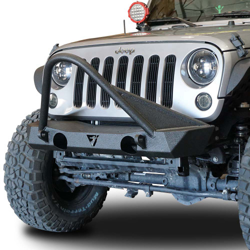 Front High Bull Bar Bumper with OEM Fog Light Holes for Wrangler 2007-2018