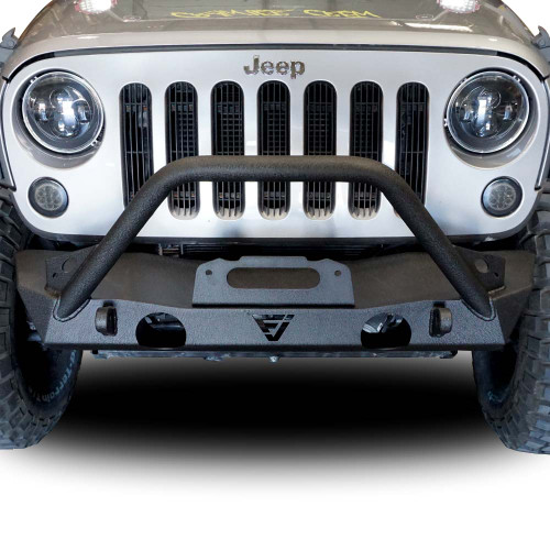 Front high flat bull bar bumper with oem fog light holes for front high flat bull bar bumper with oem fog light holes for wrangler 2007 2018 aloadofball Image collections