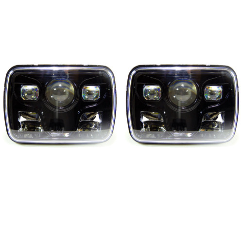 GENSSI 7×6 H6054 200mm LED Projector Headlights DOT Black Set