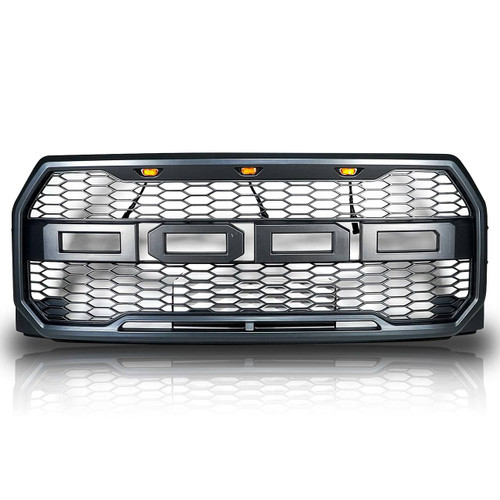 Raptor Style Replacement Black LED Front Grille For F150 2015-2017