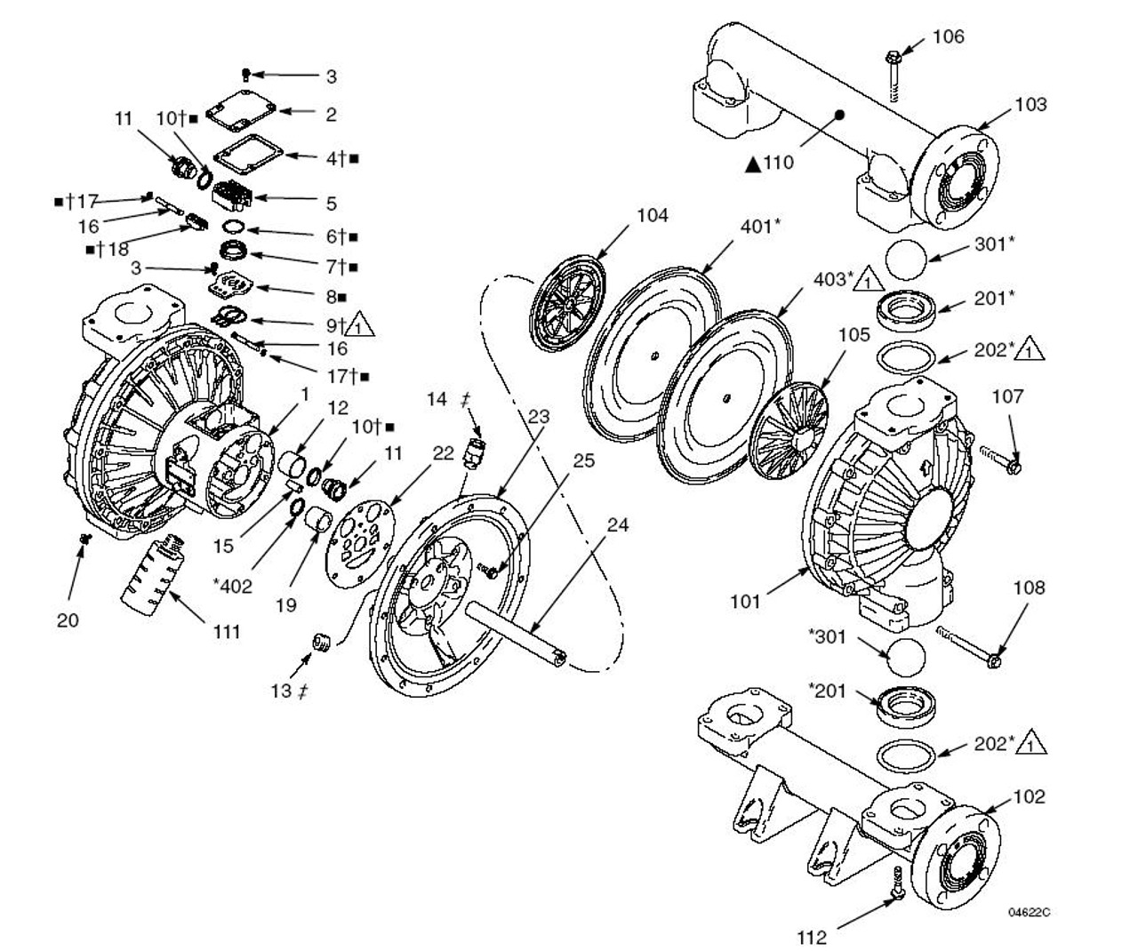 Graco Husky 1590 Diaphragm Pump Fluid Kit w/ Buna-N Seat