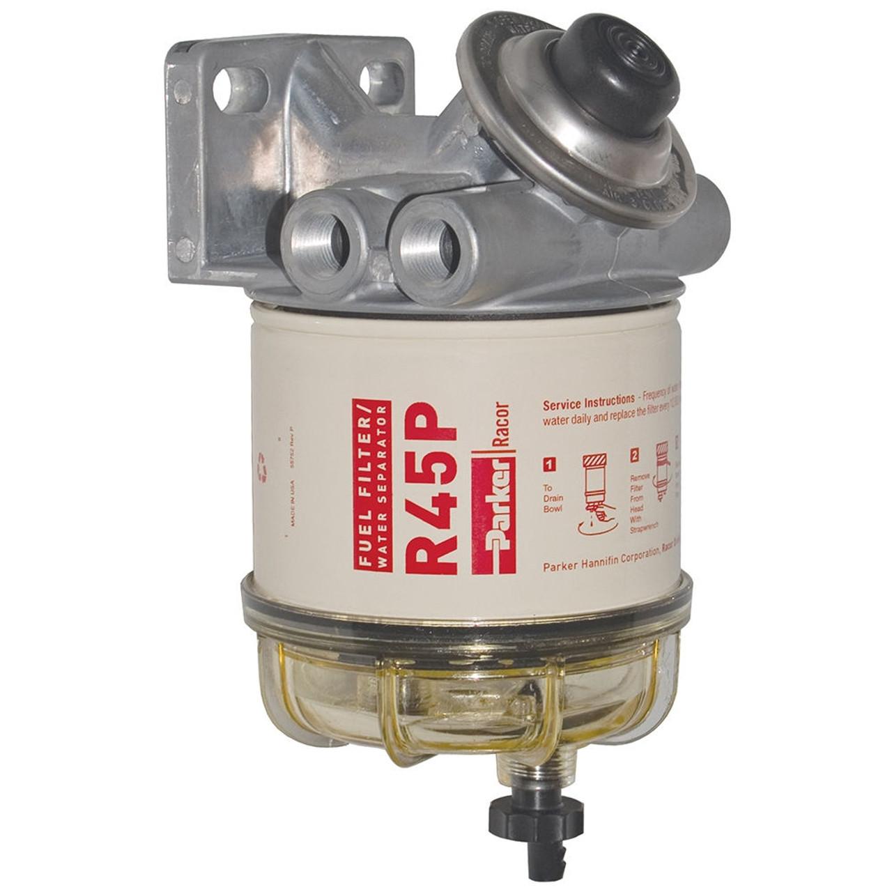 racor 400 series 45 gph diesel spin-on fuel filter - 30 micron - 6