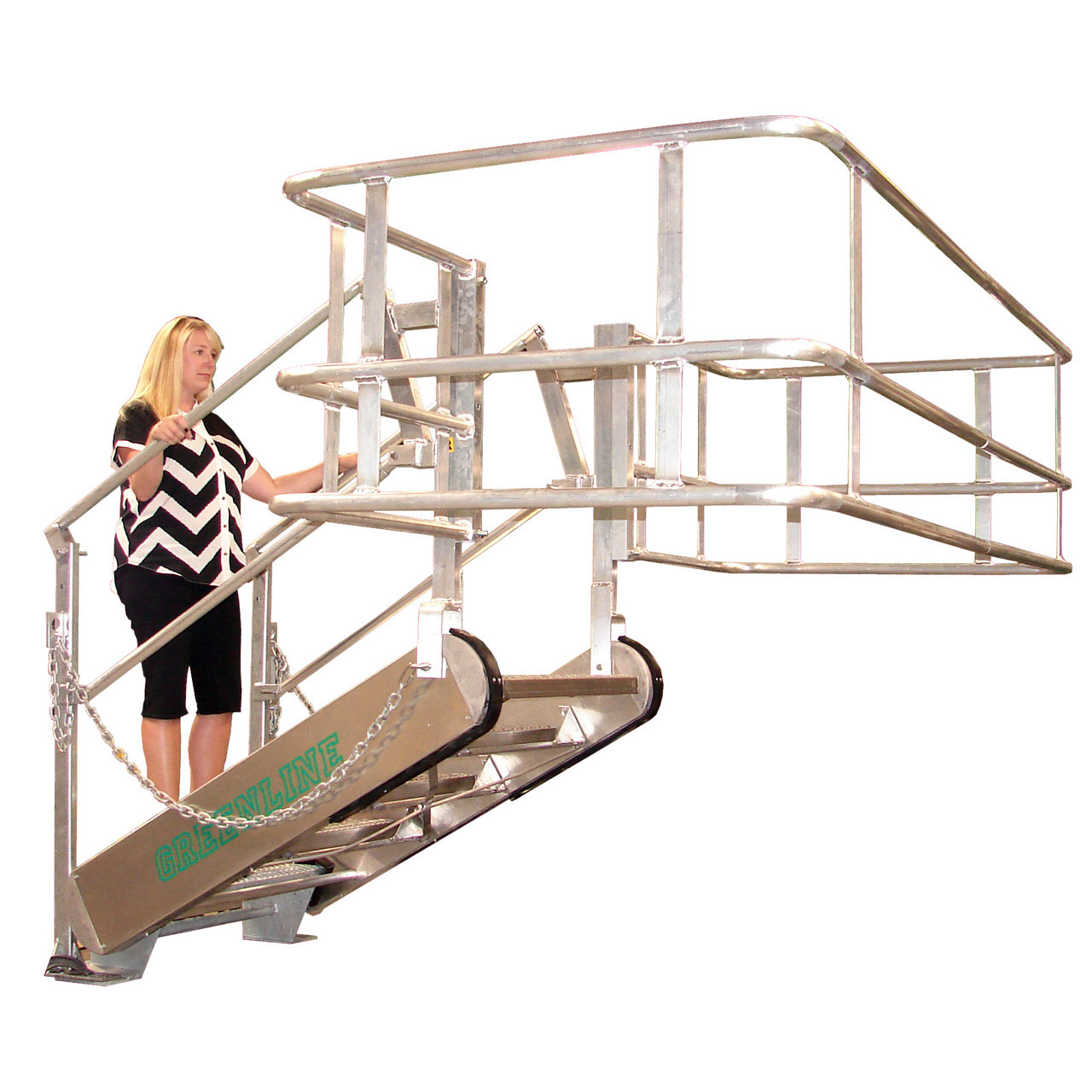 Green Aluminum Self Leveling Stairs Gangway
