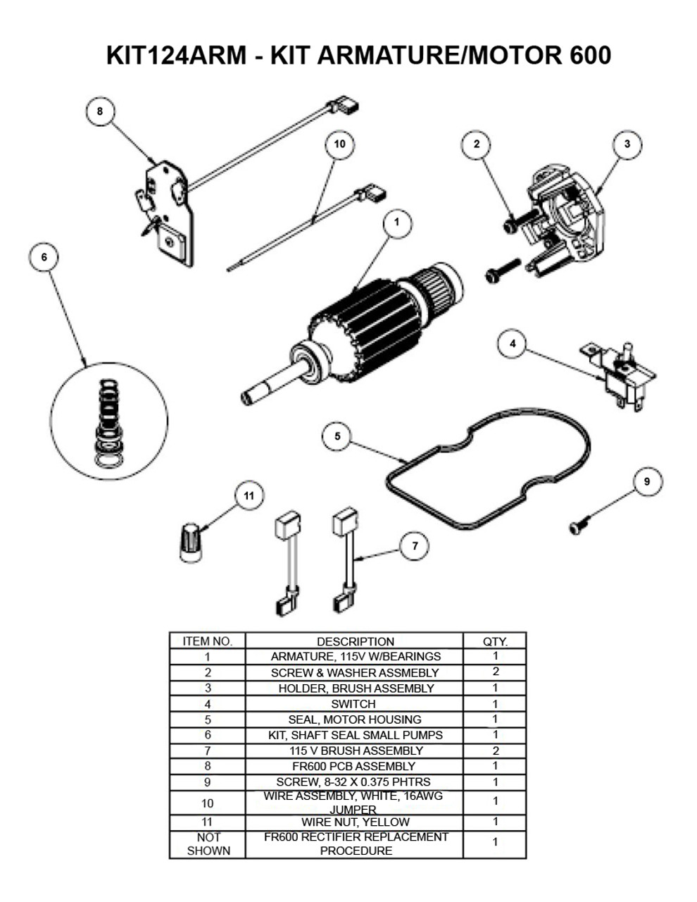 "Fill-Rite Replacement Armature Kits for FR600 Series Pumps - AC and DC ""G"