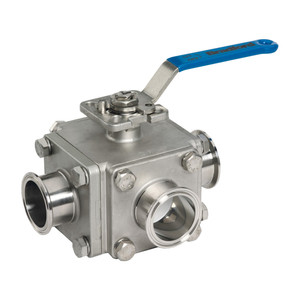 Dixon Muti-port 3-way Sanitary Stainless Steel Ball Valves - 1 1/2 in. - 'L' Port