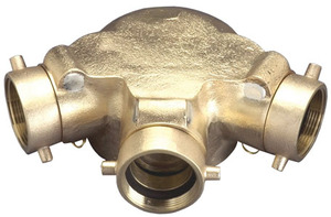 Dixon Powhatan 2 1/2 in. NH (NST) x 4 in. NPT Auto-Sprinkler Triple Clapper Siamese Connection Bottom Outlet