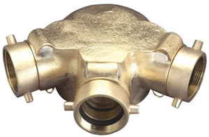 Dixon  2 1/2 in. NH (NST) x 4 in. NPT Auto-Sprinkler Triple Clapper Siamese Connection Bottom Outlet