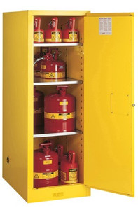 Justrite Slimline Style Sure-Grip® EX Safety Cabinet - 65 in. x 23 1/4 in. x 34 in. - Self-Close - 54 Gallons