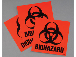 Justrite Biohazard Code Compliant 3 Label Kit (Red)