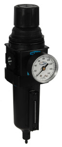 Dixon Wilkerson 1/2 in. Compact Filter/Regulator w/ Metal Bowl & Sight Glass, Manual Drain - 121 SCFM