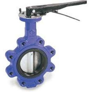 Cast Iron Lever Operated Lug Style Butterfly Valve Nickle Plated Disc Buna Seat - 4 in. - BUNA-N