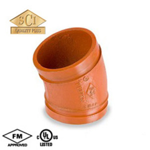 Smith Cooper 1 1/2 in. Grooved 22 1/2° Elbow - Standard Radius