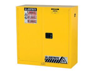 Justrite Sure-Grip® EX Classic Self-Closing 30 Gal Yellow Safety Cabinets For Flammables