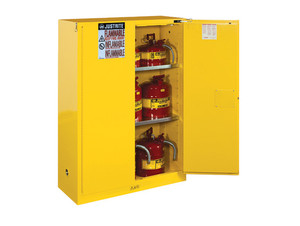 Justrite Sure-Grip® EX Classic Manual Close 45 Gal Yellow Safety Cabinets For Flammables