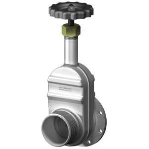 Betts 4 in. Manual Gate Valve - TTMA Flanged x Male NPT Thread - Aluminum Body, Stainless Stem