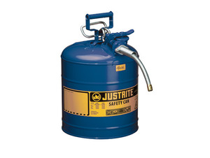 Justrite Type II AccuFlow 5 Gal Safety Gas Can w/ 1 in. Spout (Blue)