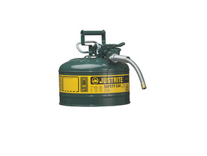 Justrite Type II AccuFlow 2 Gal Safety Gas Can w/ 5/8 in. Spout (Green)