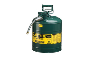 Justrite Type II AccuFlow 5 Gal Safety Gas Can w/ 1 in. Spout (Green)