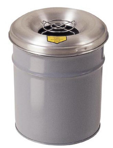 Justrite 6 Gal Cease-Fire Ash and Butt Receptacle (Gray)