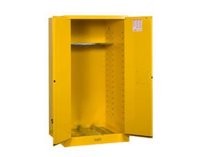 Justrite Yellow Vertical Drum Storage Cabinets - 2 Door Manual