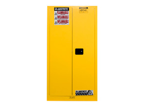 Justrite Yellow Vertical Drum Storage Cabinet - 2 Door Self-Close