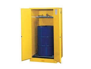 Justrite Yellow Vertical Drum Storage Cabinet - 2 Door Manual w/ Drum Rollers