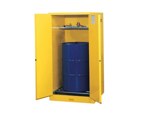 Justrite Yellow Vertical Drum Storage Cabinet - 2 Door Self-Close w/ Drum Rollers