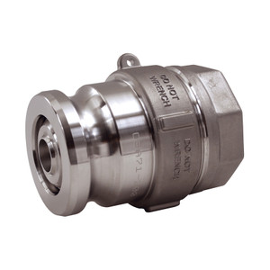 Dixon 2 1/2 in. Stainless Steel Dry Disconnect Cam & Groove Adapter x 2 in. Female NPT w/ PTFE Encapsulated FKM Seals