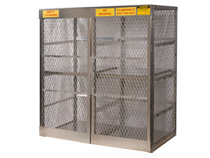 Aluminum LPG Cylinder Lockers Vertical Storage - Sixteen 20 or 33 lb - 65 in. x 60 in. x 32 in. - 2