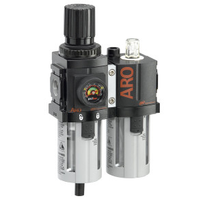 ARO 1500 Series 1/4 in. 3-Piece Combination Filter Regulator + Lubricator w/ Poly Bowl & Auto Drain