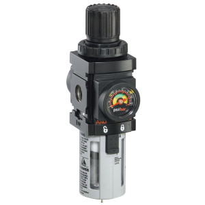 "ARO 1500 Series 1/4 in. Filter-Regulator ""Piggyback"" w/ Metal Bowl, Manual Drain, & Gauge"