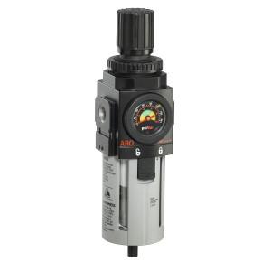 "ARO 2000 Series 1/2 in. Filter-Regulator ""Piggyback"" w/ Poly Bowl, Manual Drain & Gauge"