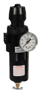 Dixon Wilkerson 1/4 in. Compact Filter/Regulator w/ Metal Bowl & Sight Glass, Auto Drain - 64 SCFM