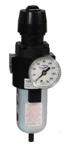 Dixon Wilkerson 1/4 in. Compact Filter/Regulator w/ Transparent Bowl & Guard, Manual Drain - 64 SCFM