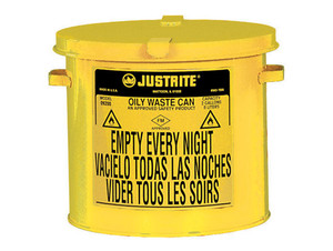 Justrite 2 Gal Countertop Oily Waste Can w/ Hand Operated Cover (Yellow)
