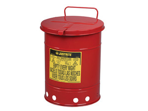 Justrite 09510 14 Gal Oily Waste Can w/ Hand Operated Cover (Red)