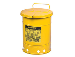 Justrite 14 Gal Oily Waste Can w/ Hand Operated Cover (Yellow)