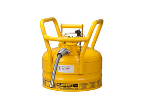 Justrite 2 1/2 Gal UNO D.O.T. Safety Gas Can For Flammables w/ 5/8 in. Spout (Yellow)