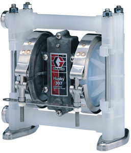Husky 307 Poly Air-Operated 3/8 in. Double Diaphragm Pump w/ Poly Seats, PTFE Balls & Dia. - 7 GPM (GRD03911)