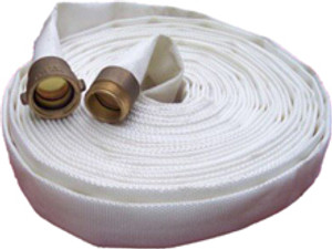 Key Fire Hose 600# Double Jacket Fire Hoses w/ Brass NPSH Couplings - White